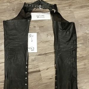 Vintage genuine leather motorcycle chaps